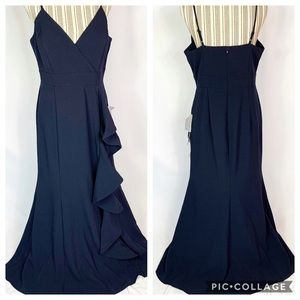 Eliza J Cascading Ruffle Navy Blue Gown Sz 14P